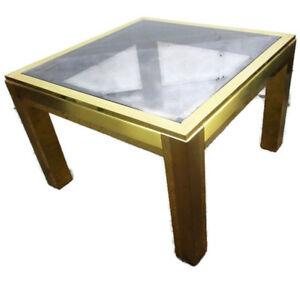 Vintage Italian Design Coffee Side Table Brass Smoked Glass Glam era Romeo Rega