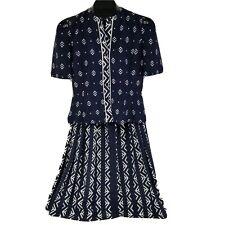 Leslie Fay Womens blue 2 Piece Skirt Suit Sz 6 Petite Collections tribal pattern