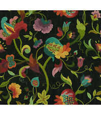Richloom Fabric Gloria Prism Black Red Green Yellow Cotton Drapery Upholstery