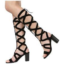 Mujer señoras de Alto Largo Corte Con Cordones Tacón Alto Zapatos Sandalias Gladiador