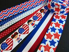 New listing 14 yards Patriotic July 4th Mix Grosgrain Satin Ribbon Scrap booking/Craft R-Usa