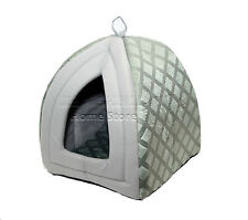 FOLDING LUXURY PET HOUSE BED CAT DOG KITTEN WARM FLEECE IGLOO SOFT CAVE GREY ND