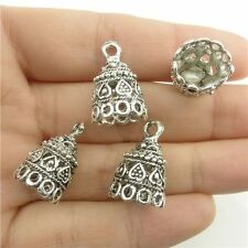18218*15PCS Heart 19.5mm Cap Bail Chain End Bead Tassels Finding Alloy Vintage