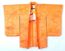 Japanese Vintage Silk Orange Long Haori Jacket & Haori Himo One Crest H58