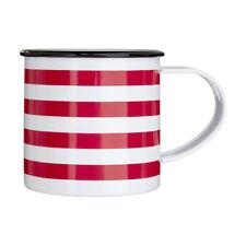 Red Stripe Coffee Mug Galvanised Steel Powder Coated 350ml Camping Tea Cup
