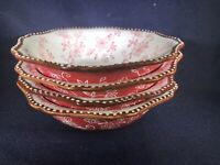 "Temp-tations Floral Lace Red Four 7.5"" Soup Cereal Bowls Ruffled Edges w/Dots"