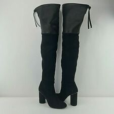 Stuart Weitzman Black Womens Over the Knee Suede Leather Boots Size 8.5 US