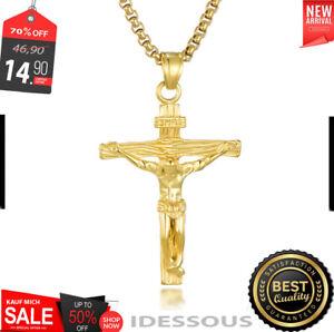18k Goldkette mit Anhänger vergoldet Kreuz Set Herren Damen 2MM Kirche Jesus G33