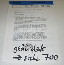 Einbauanleitung Volvo 700 200 Diesel Heizung Kraftstoffilter Stand August 1986!