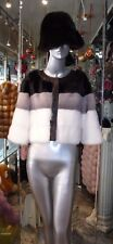 GORGEOUS Mink Fur Short Jacket with Leather Detail Three Shades White Grey Black