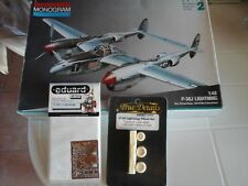 P38 LOCKHEED LIGHTNING 1/48 SCALE MONOGRAM MODEL+PHOTOETCHED+RESIN PARTS