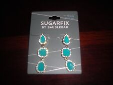NWT Sugarfix By Baublebar Turquoise Enamel and Clear Rhinestones Dangle Earrings