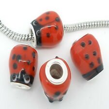1PC Red Ladybug Lampwork Glass Bead Fit European Charm Bracelet