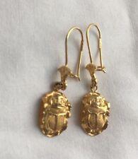 "Egyptian Scarab ""Good Luck"" 18K Yellow Gold Earrings 1.5"" Long #12"