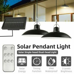 LED Solar Pendant Hanging Light Panel Powered Lamp Garden Yard Shed Lighting UK
