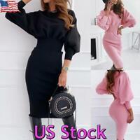 US Women Long Puff Sleeve Jumper Ladies Midi Dress Sweatshirt Pullover Tunic Top