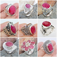 STUNNING RUBY CORUNDUM 925 SOLID STERLING SILVER JEWELRY RINGS IN ALL SHAPE SIZE