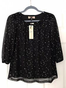 Billie And Blossom Black Embellished Top Size 10