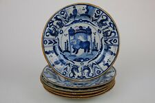 Amazing Old Set of 6 Blue & White Chinoiserie Delft Plates  23cm / 9.2 inch.