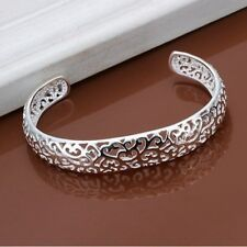 Fashion 925Sterling Solid Silver Jewelry Hollow Out Bangles Bracelet K144