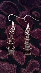 "Handmade pagoda pair of earrings (""antique silver"")"