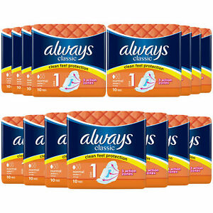 Always Classic Sanitary Towels Soft Like Cotton size 1 size 2 and size 3