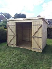 10x4 GARDEN SHED TANALISED T&G WOODEN STORE  - DOUBLE DOOR PENT STYLE HUT