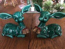 Pair Of Lefton Green Ceramic Deer Figurines Christmas