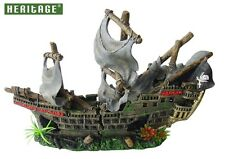 HERITAGE WS027M AQUARIUM FISH TANK LARGE PIRATE SHIP BOAT WRECK ORNAMENT 42CM