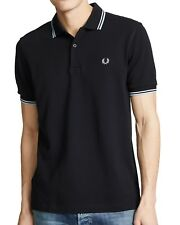 Fred Perry Men's Short Sleeve M3600 Twin Tipped Polo Shirt Black/Pale Blue