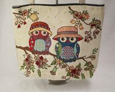 Tote Bag Nappy Knitting Shopping Craft Travel Owls Cream Blue Red Yellow Canvas