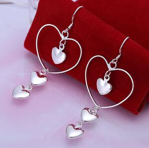 925 Sterling Silver Heart Earrings Triple Heart Dangle Drop Love UK Seller
