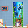 3D Dolphin Shell Sea World Self-adhesive Door Mural Wall Sticker Wallpaper Decor