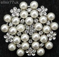 NEW SILVER TONE WHITE FAUX PEARL FLOWER RHINESTONE CRYSTAL PIN BROOCH WEDDING UK