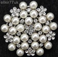 Silver Tone White Faux Pearl Flower Rhinestone Crystal Pin Brooch Wedding UK