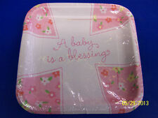 "Blessed Baby Girl Pink Cross Religious Shower Party 7"" Square Dessert Plates"