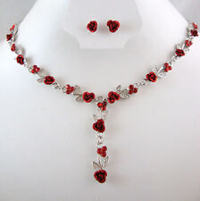 SILVER TONE METAL RED ROSE  & CRYSTAL NECKLACE SET