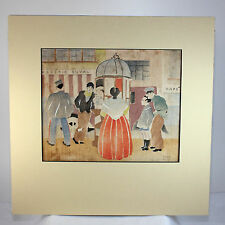 Hand Colored Block Print of Paris Street by American Listed Artist Page Carey