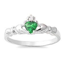 Claddagh Ring  with Cubic Zirconia Sterling Silvet Rhodium Plated Emerald Size 6
