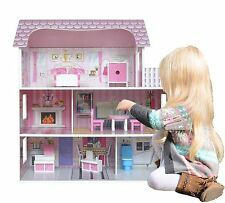 Kiddi Style Large Kids Girls Victorian Mansion Wooden Doll House & Furniture NEW