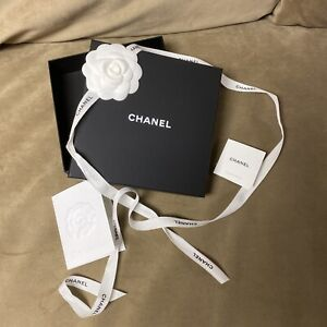 Authentic Chanel Gift Box 6.75x6.75x1.75 Inch with Camellia Flower/ribbon...