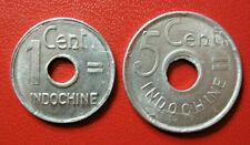 Indochine. Superbe 1 cent et 5 cents 1943. Etat Français. SUP