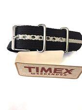 Timex T7B893 Weekender 20mm Black with White Stripe Nylon Slip-Thru Watch Strap