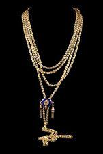 Antico Georgiano lunga guardia catena cuore di scorrimento in oro e argento 1800 SINDACI Catena