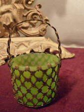 ANTIQUE FRENCH 1800's OPALINE GILT METAL BRASS MESH BASKET TRINKET GREEN RARE
