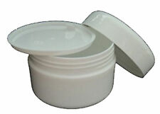100ml x 10 Empty White Plastic Cosmetic Jars with inner Lids | For Creams / Balm