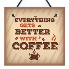 Better With Coffee Retro Vintage Chic Kitchen Wall Decor Pub Sign Plaque Gift