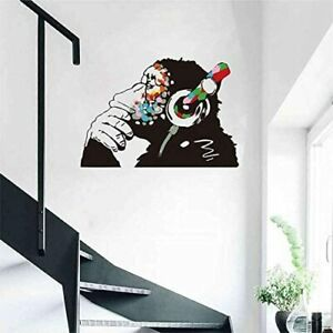 Multicolor Funny Monkey with Headphones Wall Decal A628 (Large)