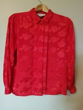 Vintage Allison Smith Button Front Long Sleeve Red Blouse Shirt Size 12 Holiday