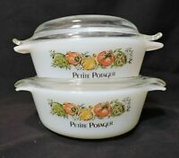 Vintage Lot of 2 Anchor Hocking Fire King Petite Potager Casseroles Lids PERFECT
